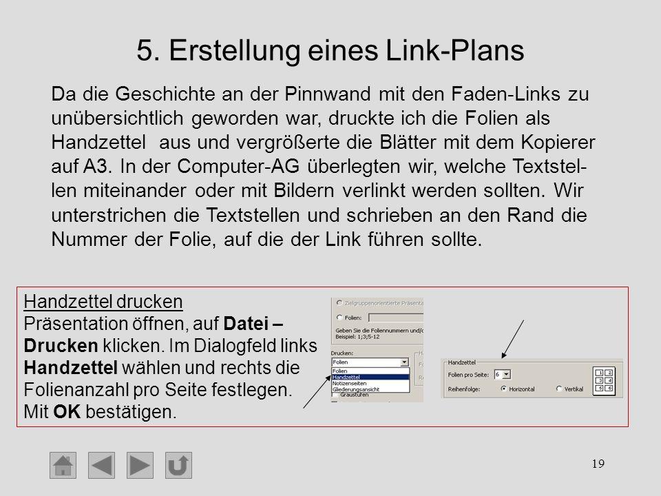 19 5. Erstellung eines Link-Plans Da die Geschichte an der Pinnwand mit den Faden-Links zu unübersichtlich geworden war, druckte ich die Folien als Ha
