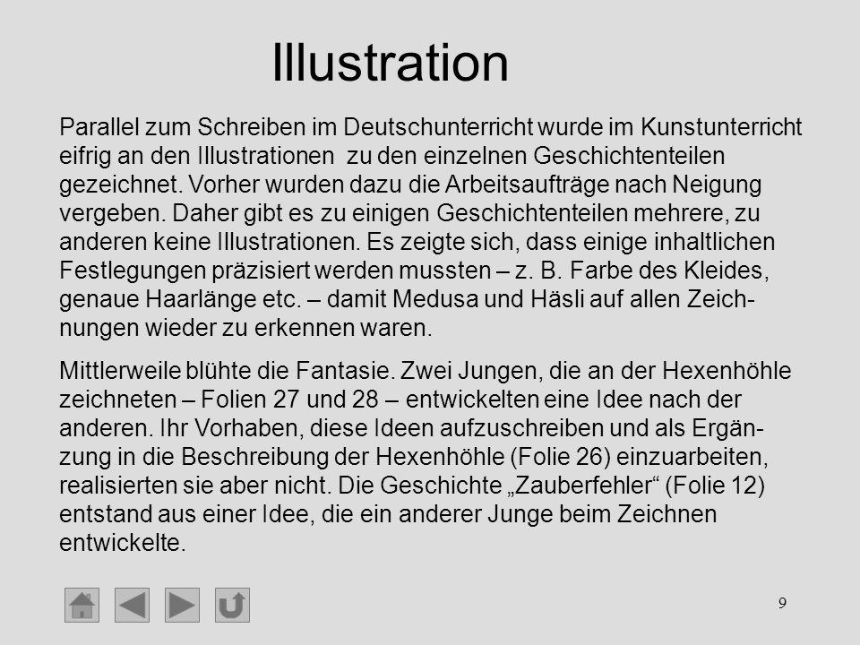 9 Illustration Parallel zum Schreiben im Deutschunterricht wurde im Kunstunterricht eifrig an den Illustrationen zu den einzelnen Geschichtenteilen ge