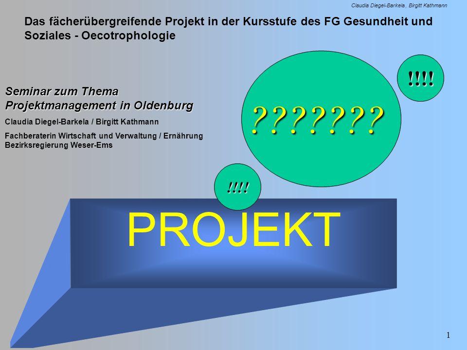 Das fächerübergreifende Projekt in der Kursstufe des FG Gesundheit und Soziales - Oecotrophologie Claudia Diegel-Barkela Birgitt Kathmann 1 PROJEKT Se