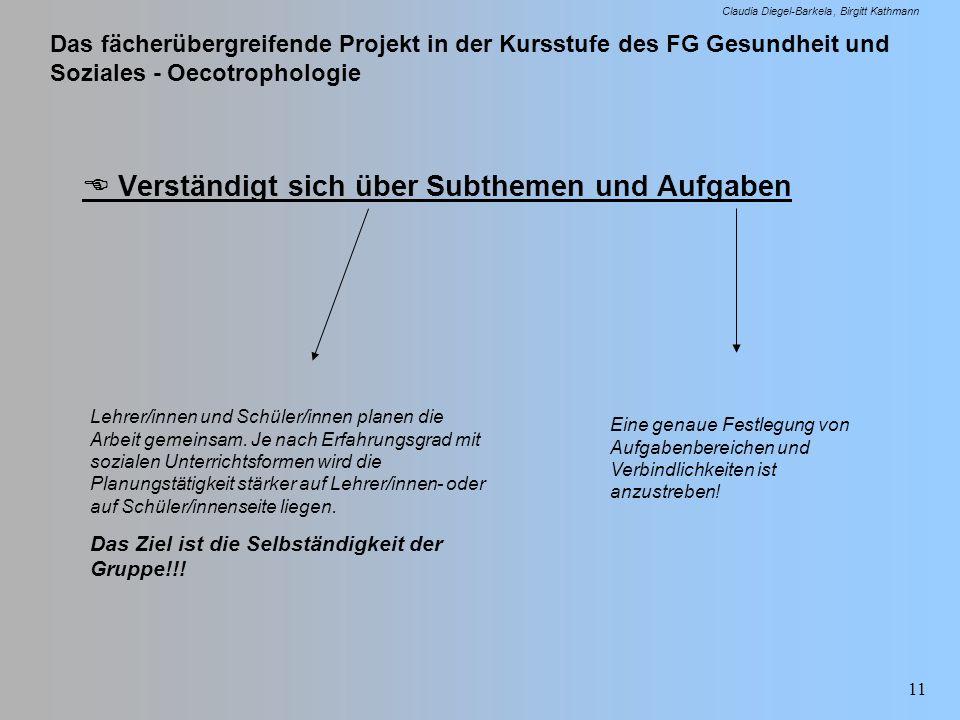Das fächerübergreifende Projekt in der Kursstufe des FG Gesundheit und Soziales - Oecotrophologie Claudia Diegel-Barkela Birgitt Kathmann 11 Verständi