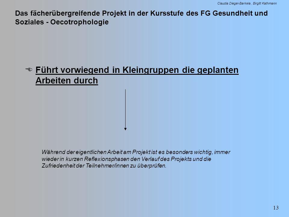 Das fächerübergreifende Projekt in der Kursstufe des FG Gesundheit und Soziales - Oecotrophologie Claudia Diegel-Barkela Birgitt Kathmann 13 Führt vor