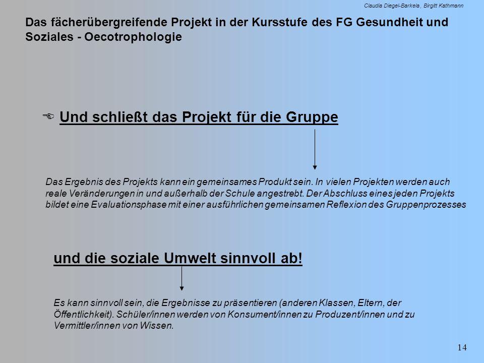 Das fächerübergreifende Projekt in der Kursstufe des FG Gesundheit und Soziales - Oecotrophologie Claudia Diegel-Barkela Birgitt Kathmann 14 Und schli
