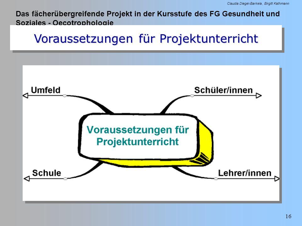 Das fächerübergreifende Projekt in der Kursstufe des FG Gesundheit und Soziales - Oecotrophologie Claudia Diegel-Barkela Birgitt Kathmann 16 Vorausset