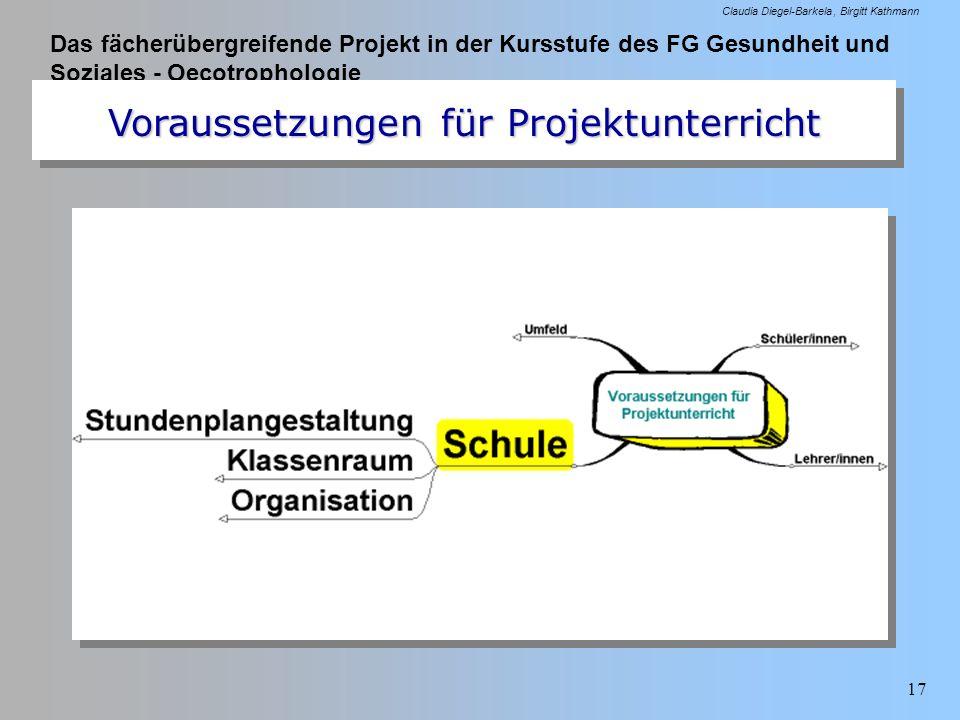 Das fächerübergreifende Projekt in der Kursstufe des FG Gesundheit und Soziales - Oecotrophologie Claudia Diegel-Barkela Birgitt Kathmann 17 Vorausset