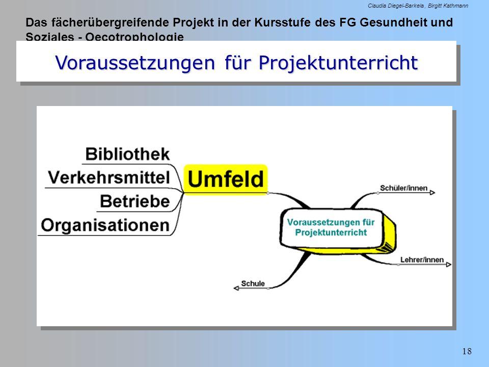 Das fächerübergreifende Projekt in der Kursstufe des FG Gesundheit und Soziales - Oecotrophologie Claudia Diegel-Barkela Birgitt Kathmann 18 Vorausset