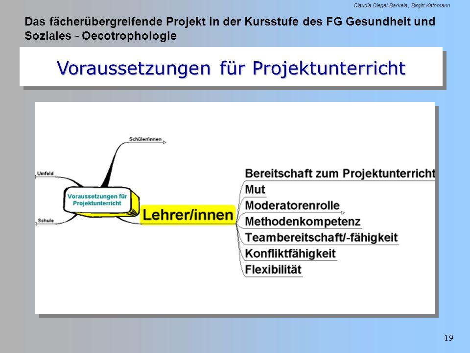 Das fächerübergreifende Projekt in der Kursstufe des FG Gesundheit und Soziales - Oecotrophologie Claudia Diegel-Barkela Birgitt Kathmann 19 Vorausset