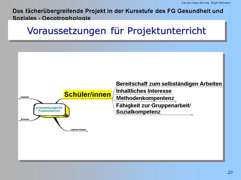 Das fächerübergreifende Projekt in der Kursstufe des FG Gesundheit und Soziales - Oecotrophologie Claudia Diegel-Barkela Birgitt Kathmann 20 Vorausset