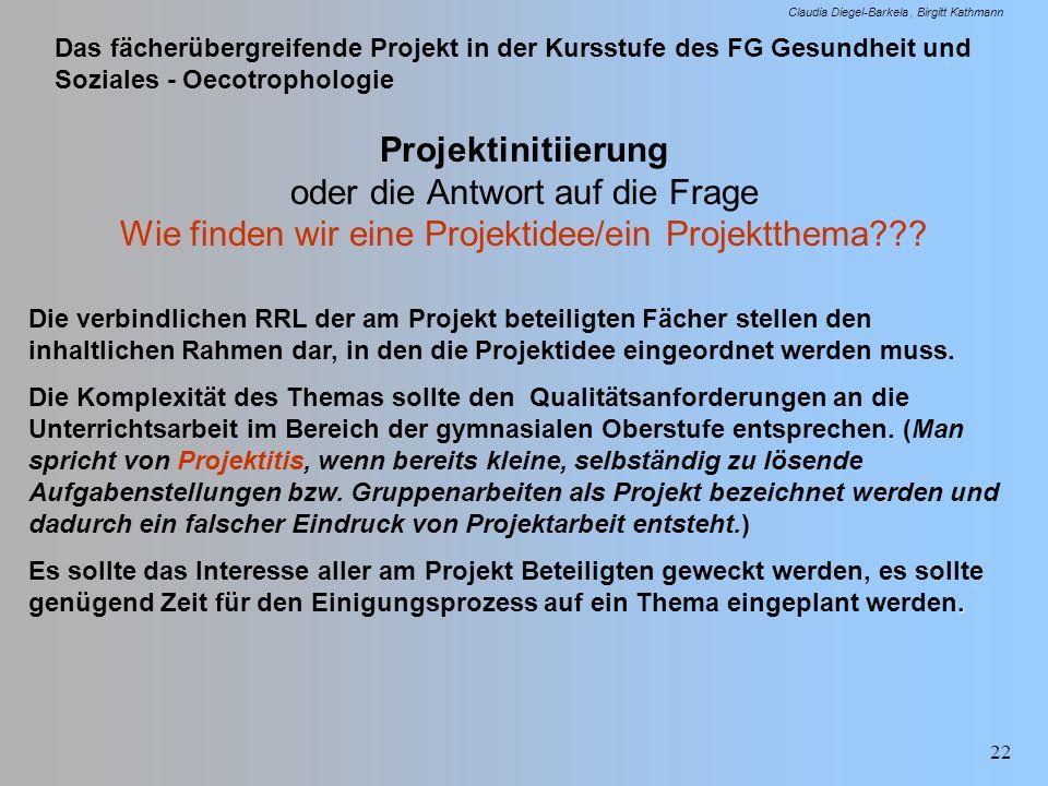 Das fächerübergreifende Projekt in der Kursstufe des FG Gesundheit und Soziales - Oecotrophologie Claudia Diegel-Barkela Birgitt Kathmann 22 Projektin