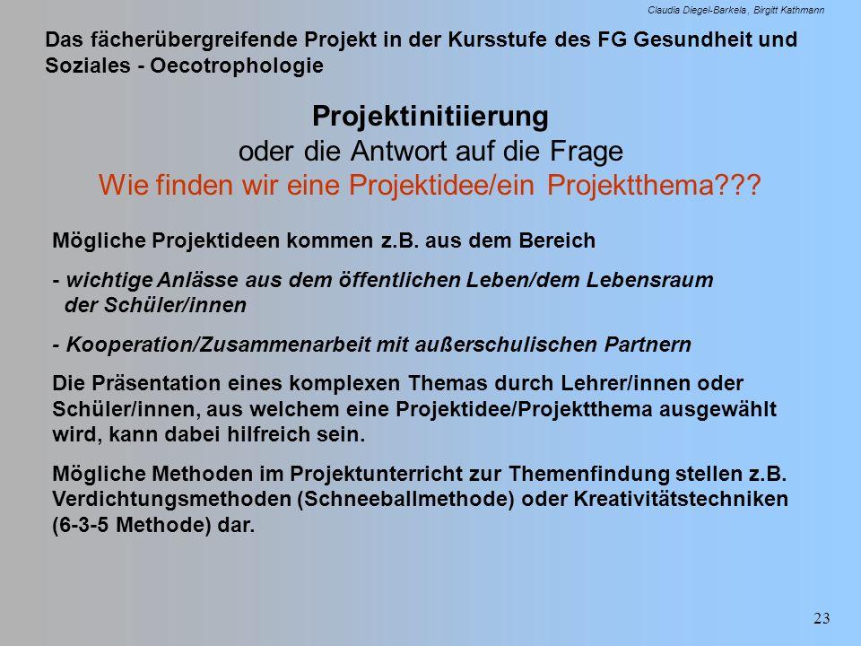 Das fächerübergreifende Projekt in der Kursstufe des FG Gesundheit und Soziales - Oecotrophologie Claudia Diegel-Barkela Birgitt Kathmann 23 Projektin