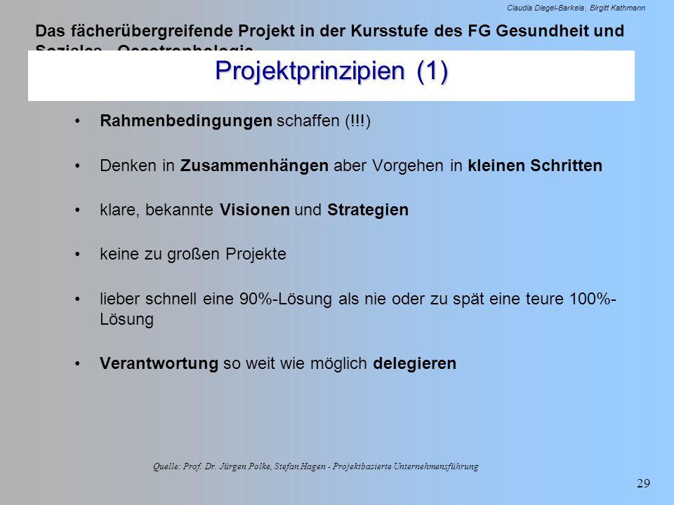 Das fächerübergreifende Projekt in der Kursstufe des FG Gesundheit und Soziales - Oecotrophologie Claudia Diegel-Barkela Birgitt Kathmann 29 Quelle: P