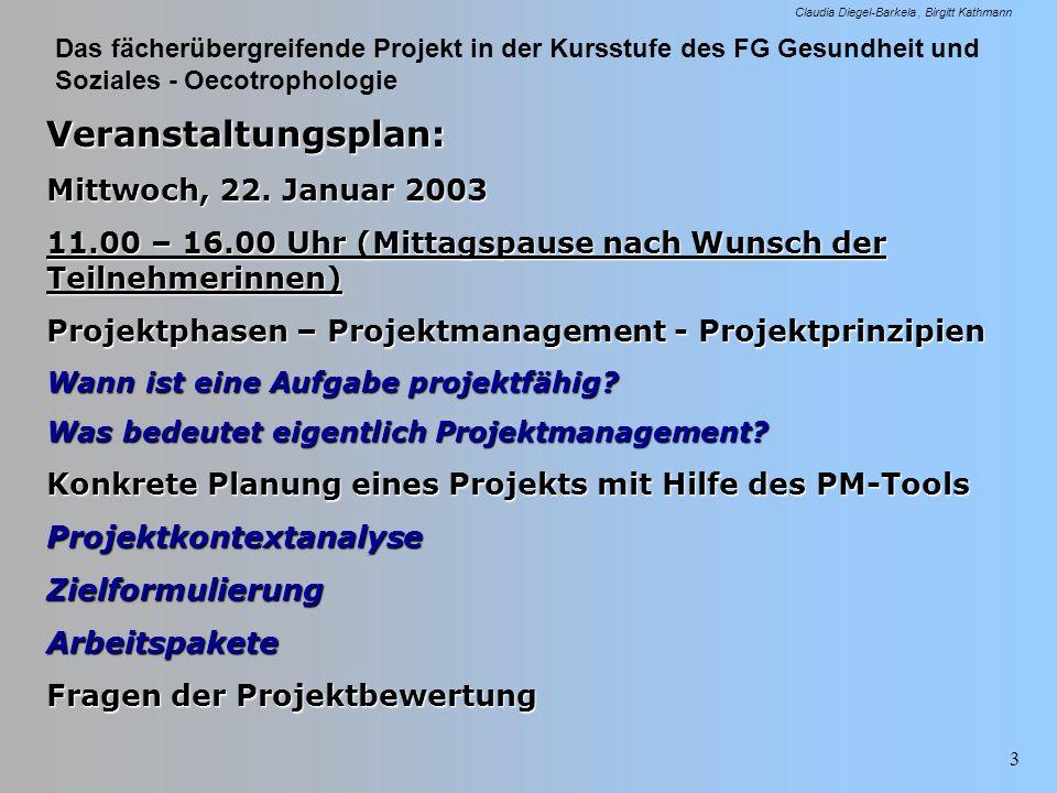 Das fächerübergreifende Projekt in der Kursstufe des FG Gesundheit und Soziales - Oecotrophologie Claudia Diegel-Barkela Birgitt Kathmann 3 Veranstalt
