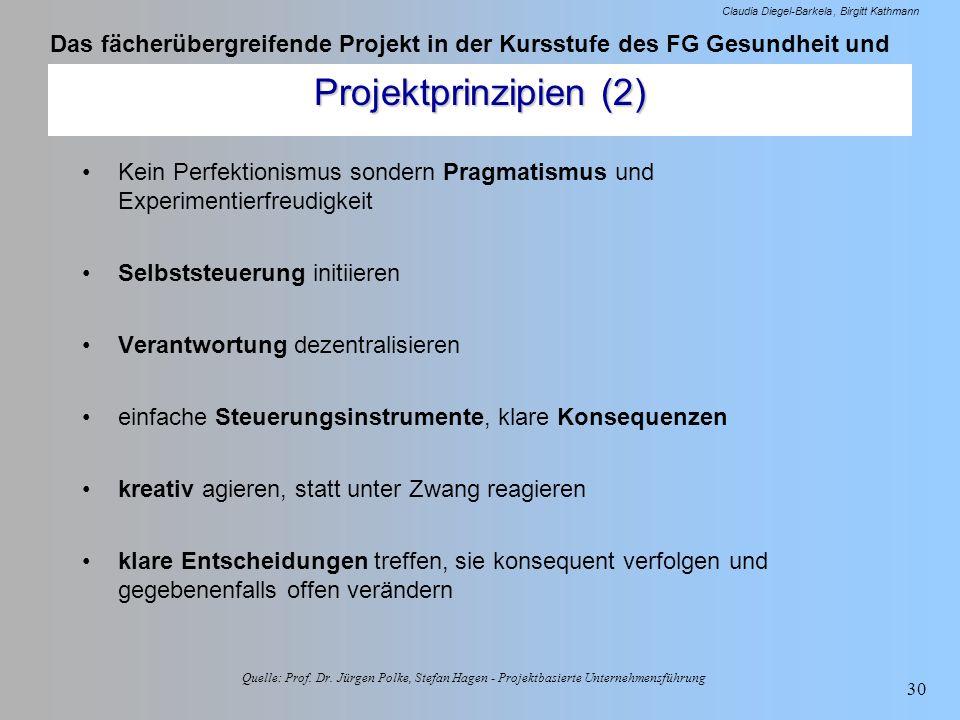 Das fächerübergreifende Projekt in der Kursstufe des FG Gesundheit und Soziales - Oecotrophologie Claudia Diegel-Barkela Birgitt Kathmann 30 Projektpr