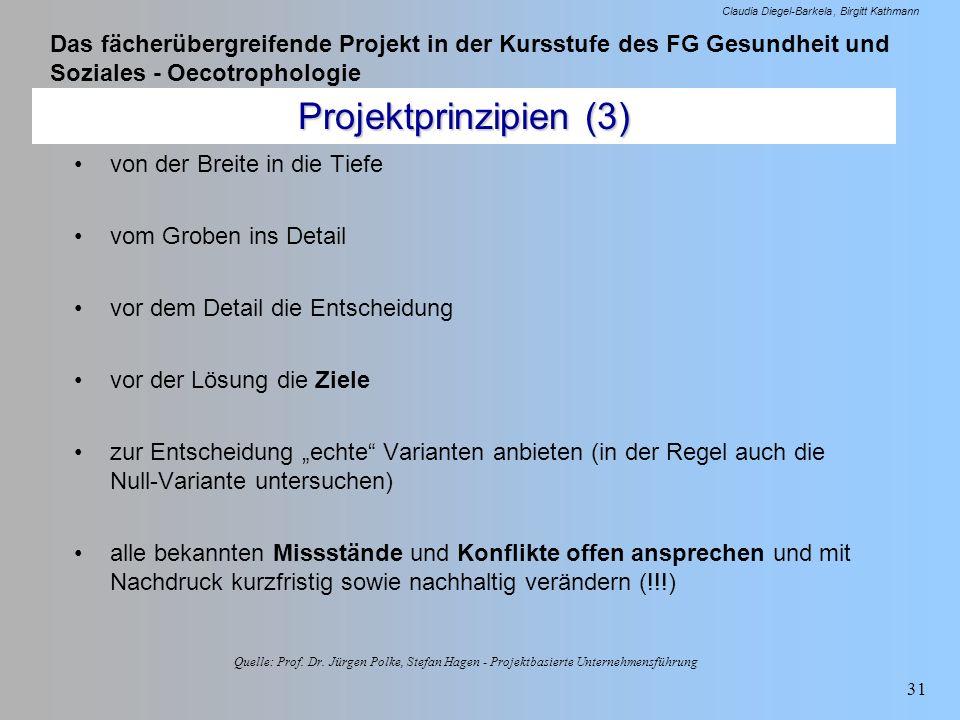 Das fächerübergreifende Projekt in der Kursstufe des FG Gesundheit und Soziales - Oecotrophologie Claudia Diegel-Barkela Birgitt Kathmann 31 Projektpr
