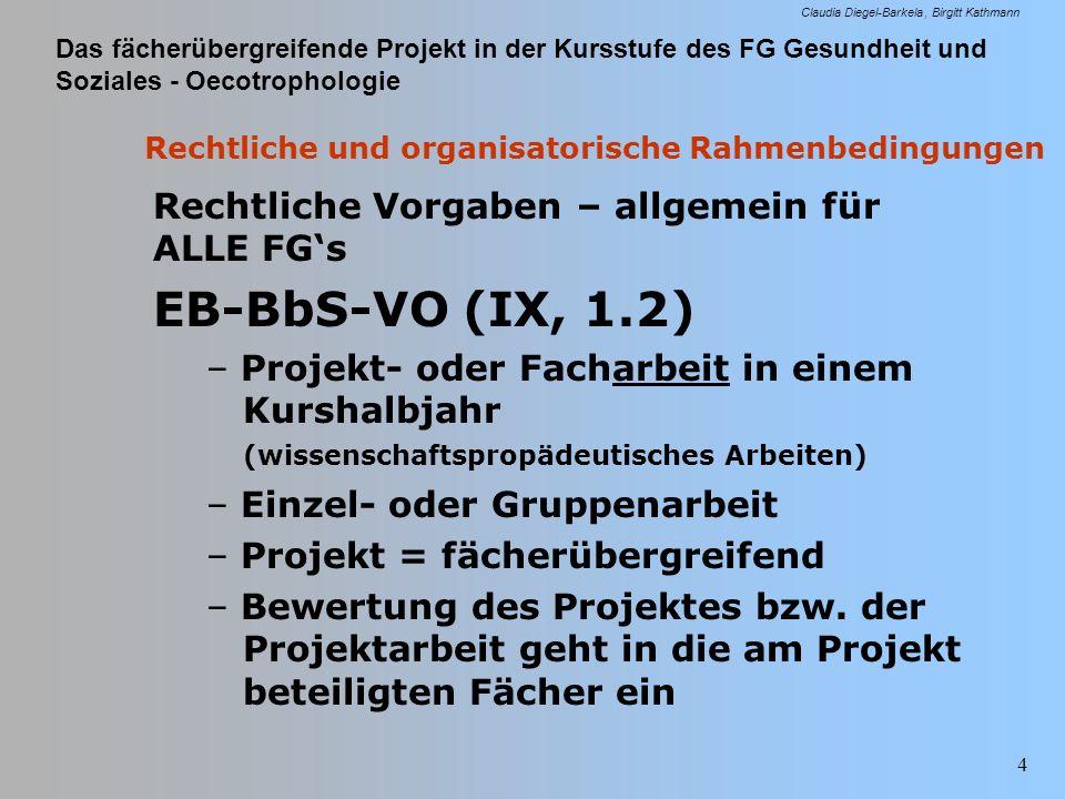 Das fächerübergreifende Projekt in der Kursstufe des FG Gesundheit und Soziales - Oecotrophologie Claudia Diegel-Barkela Birgitt Kathmann 45 Projektbewertung Erlass MK v.