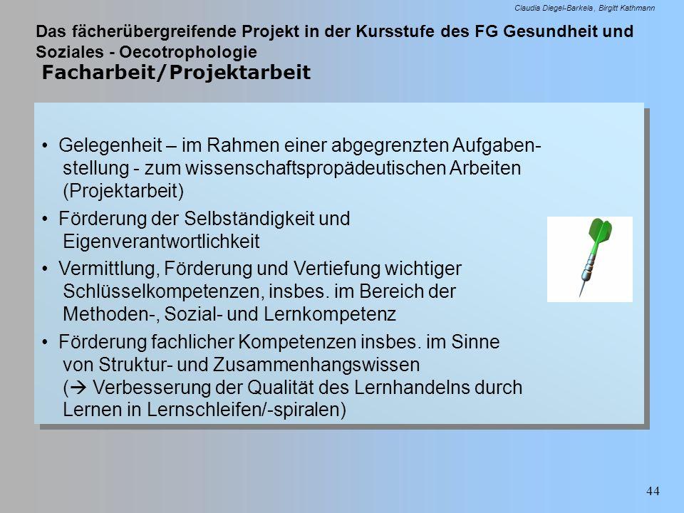 Das fächerübergreifende Projekt in der Kursstufe des FG Gesundheit und Soziales - Oecotrophologie Claudia Diegel-Barkela Birgitt Kathmann 44 Facharbei