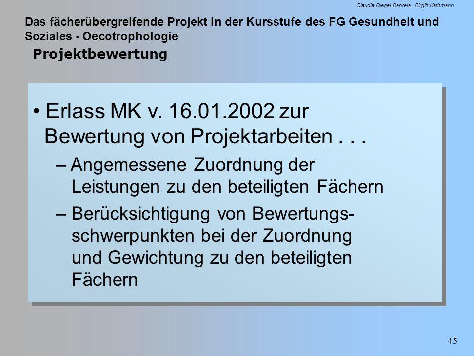 Das fächerübergreifende Projekt in der Kursstufe des FG Gesundheit und Soziales - Oecotrophologie Claudia Diegel-Barkela Birgitt Kathmann 45 Projektbe