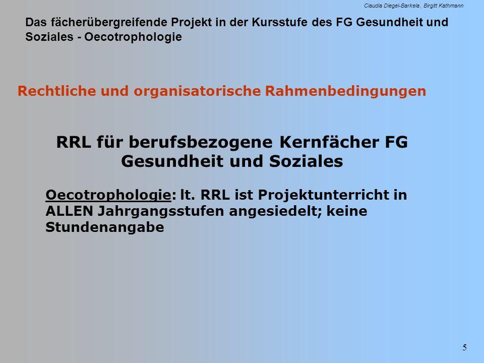 Das fächerübergreifende Projekt in der Kursstufe des FG Gesundheit und Soziales - Oecotrophologie Claudia Diegel-Barkela Birgitt Kathmann 5 Rechtliche