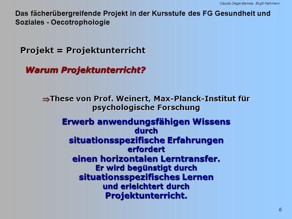 Das fächerübergreifende Projekt in der Kursstufe des FG Gesundheit und Soziales - Oecotrophologie Claudia Diegel-Barkela Birgitt Kathmann 6 Projekt =