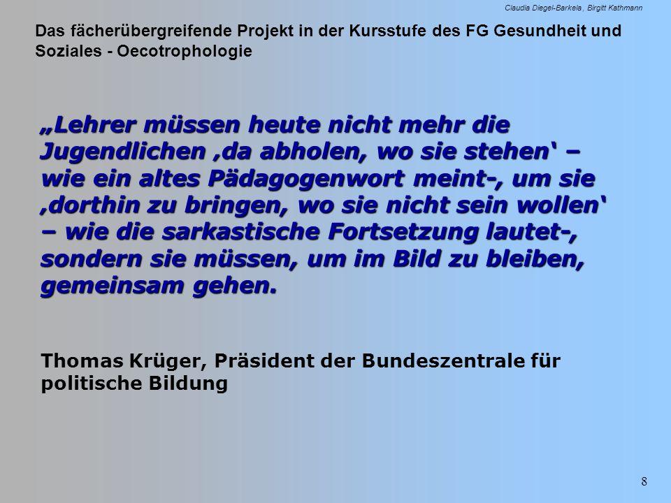 Das fächerübergreifende Projekt in der Kursstufe des FG Gesundheit und Soziales - Oecotrophologie Claudia Diegel-Barkela Birgitt Kathmann 39 Projektplanung oder die Antwort auf die Frage Was wollen wir durch das Projekt erreichen??.