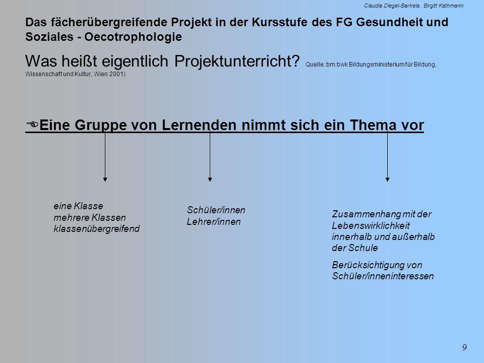 Das fächerübergreifende Projekt in der Kursstufe des FG Gesundheit und Soziales - Oecotrophologie Claudia Diegel-Barkela Birgitt Kathmann 9 Was heißt