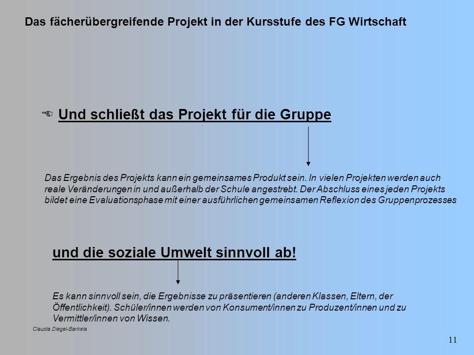 Das fächerübergreifende Projekt in der Kursstufe des FG Wirtschaft Claudia Diegel-Barkela 11 Und schließt das Projekt für die Gruppe Das Ergebnis des