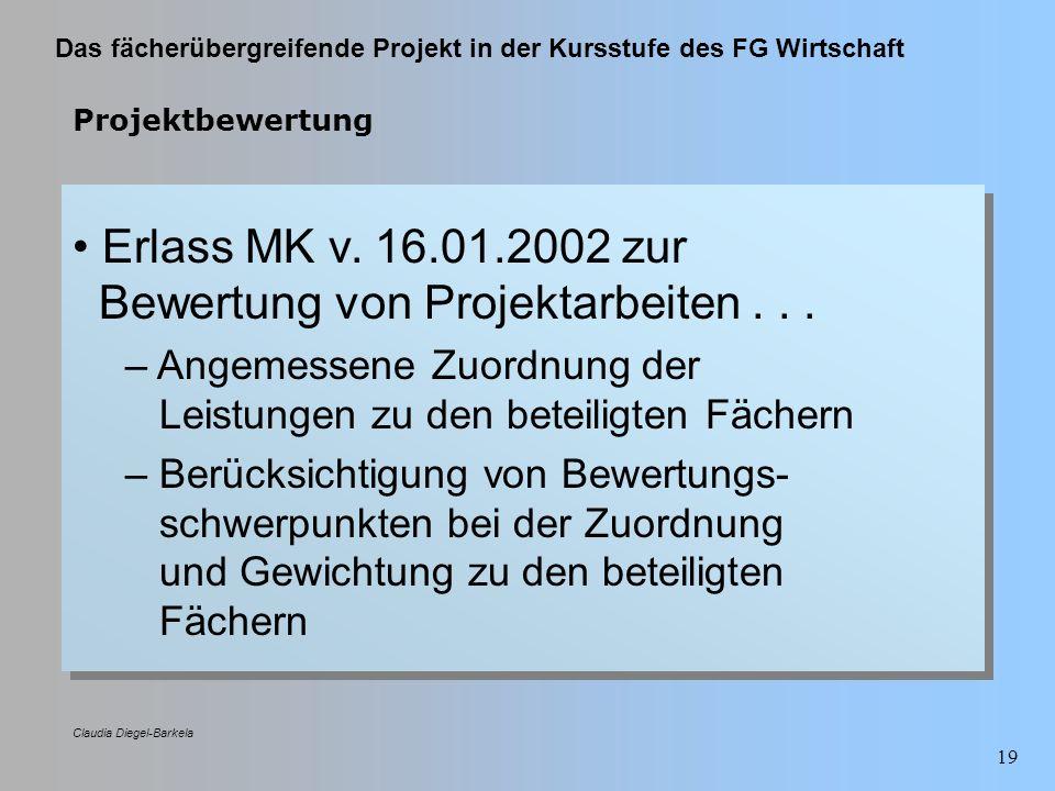 Das fächerübergreifende Projekt in der Kursstufe des FG Wirtschaft Claudia Diegel-Barkela 19 Projektbewertung Erlass MK v. 16.01.2002 zur Bewertung vo