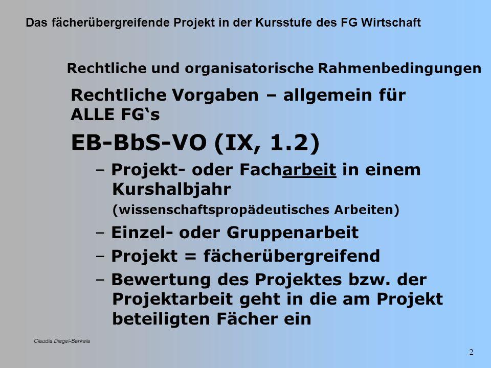 Das fächerübergreifende Projekt in der Kursstufe des FG Wirtschaft Claudia Diegel-Barkela 3 Rechtliche und organisatorische Rahmenbedingungen RRL für berufsbezogene Kernfächer FG Wirtschaft – – 80 stündiges Projekt in der Kursstufe – – fächerübergreifende Anlage unter Be- teiligung von BRC und IV und/oder VW (zusätzlich möglich: 1.