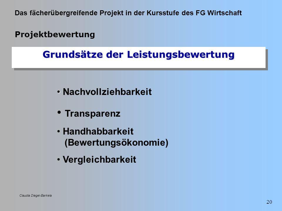 Das fächerübergreifende Projekt in der Kursstufe des FG Wirtschaft Claudia Diegel-Barkela 20 Projektbewertung Grundsätze der Leistungsbewertung Nachvo