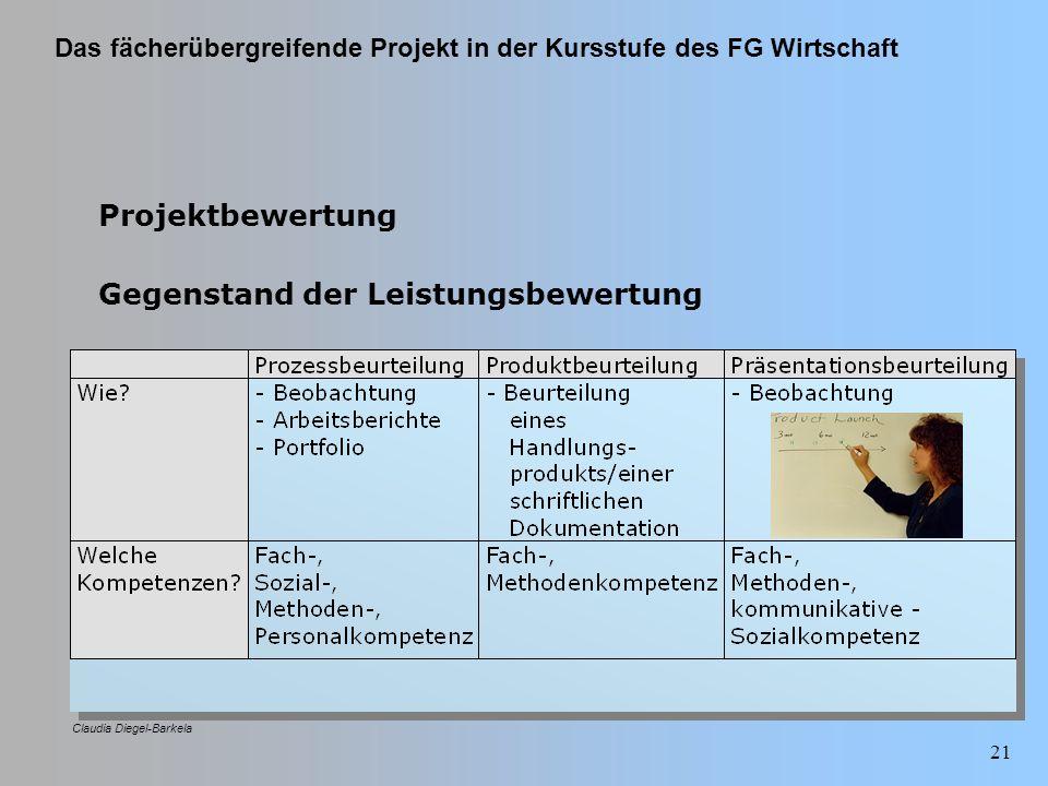 Das fächerübergreifende Projekt in der Kursstufe des FG Wirtschaft Claudia Diegel-Barkela 21 Projektbewertung Gegenstand der Leistungsbewertung