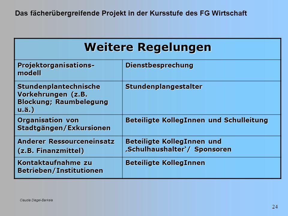 Das fächerübergreifende Projekt in der Kursstufe des FG Wirtschaft Claudia Diegel-Barkela 24 Weitere Regelungen Projektorganisations- modell Dienstbes