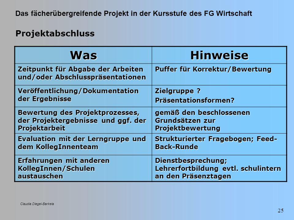 Das fächerübergreifende Projekt in der Kursstufe des FG Wirtschaft Claudia Diegel-Barkela 25 Projektabschluss WasHinweise Zeitpunkt für Abgabe der Arb