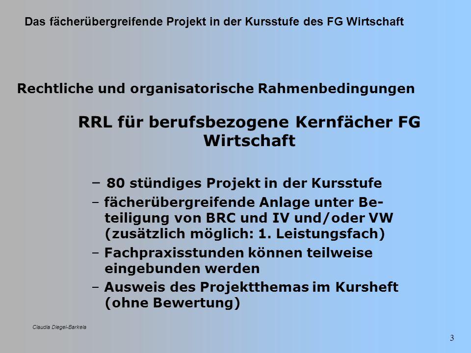 Das fächerübergreifende Projekt in der Kursstufe des FG Wirtschaft Claudia Diegel-Barkela 24 Weitere Regelungen Projektorganisations- modell Dienstbesprechung Stundenplantechnische Vorkehrungen (z.B.