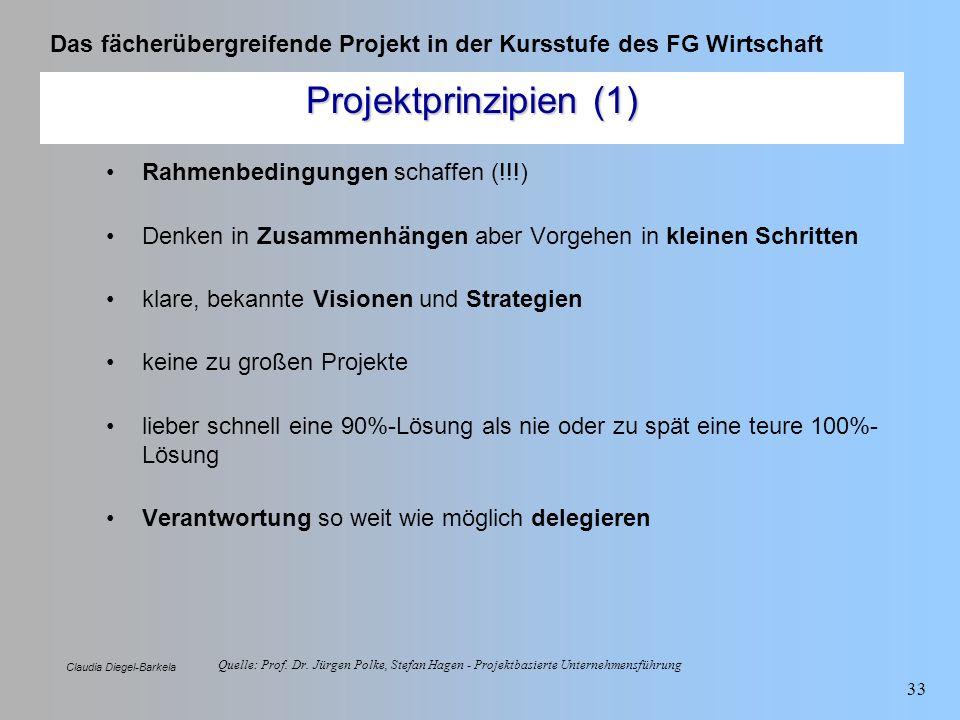 Das fächerübergreifende Projekt in der Kursstufe des FG Wirtschaft Claudia Diegel-Barkela 33 Quelle: Prof. Dr. Jürgen Polke, Stefan Hagen - Projektbas