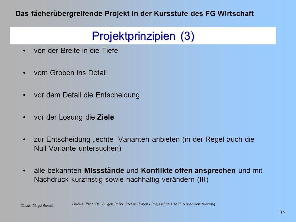 Das fächerübergreifende Projekt in der Kursstufe des FG Wirtschaft Claudia Diegel-Barkela 35 Projektprinzipien (3) von der Breite in die Tiefe vom Gro