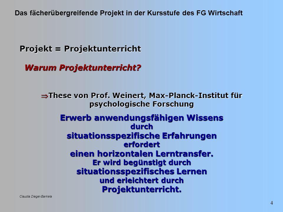 Das fächerübergreifende Projekt in der Kursstufe des FG Wirtschaft Claudia Diegel-Barkela 45 Projektstrukturplan Arbeitsschritte zur Umsetzungsplanung: ArbeitsschrittNutzen 1) 1)Erarbeitung der StrategienVariantenvielfalt 2) 2)UmsetzungsschritteFestlegung der Arbeitspakete 3) 3)Delegation der ArbeitspaketeKlarheit: Wer macht was.