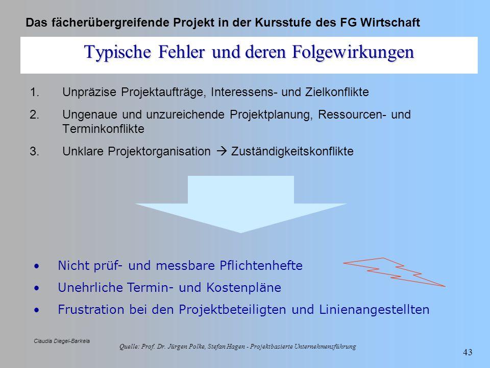Das fächerübergreifende Projekt in der Kursstufe des FG Wirtschaft Claudia Diegel-Barkela 43 Typische Fehler und deren Folgewirkungen 1.Unpräzise Proj
