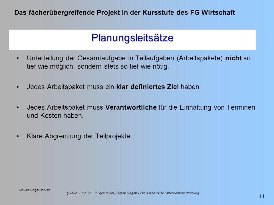Das fächerübergreifende Projekt in der Kursstufe des FG Wirtschaft Claudia Diegel-Barkela 44 Planungsleitsätze Unterteilung der Gesamtaufgabe in Teila
