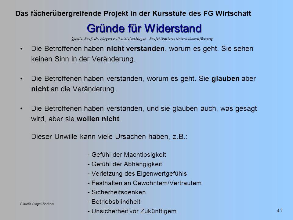 Das fächerübergreifende Projekt in der Kursstufe des FG Wirtschaft Claudia Diegel-Barkela 47 Gründe für Widerstand Die Betroffenen haben nicht verstan