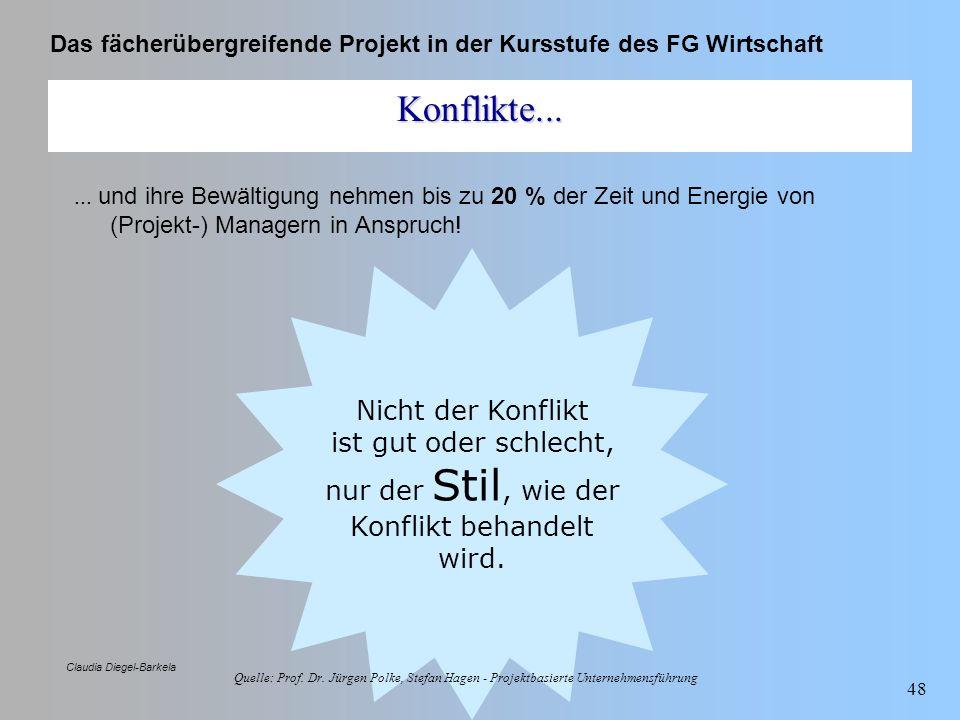 Das fächerübergreifende Projekt in der Kursstufe des FG Wirtschaft Claudia Diegel-Barkela 48 Konflikte...... und ihre Bewältigung nehmen bis zu 20 % d