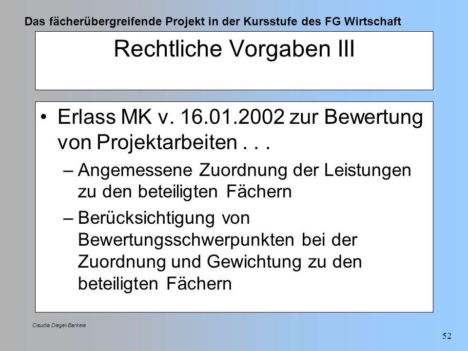 Das fächerübergreifende Projekt in der Kursstufe des FG Wirtschaft Claudia Diegel-Barkela 52 Rechtliche Vorgaben III Erlass MK v. 16.01.2002 zur Bewer