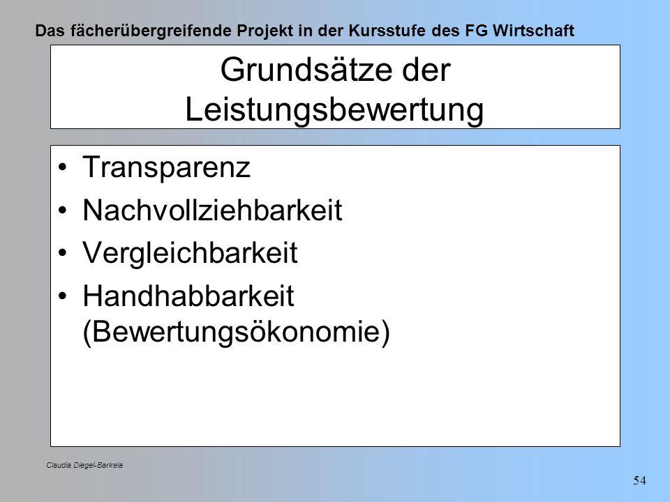 Das fächerübergreifende Projekt in der Kursstufe des FG Wirtschaft Claudia Diegel-Barkela 54 Grundsätze der Leistungsbewertung Transparenz Nachvollzie