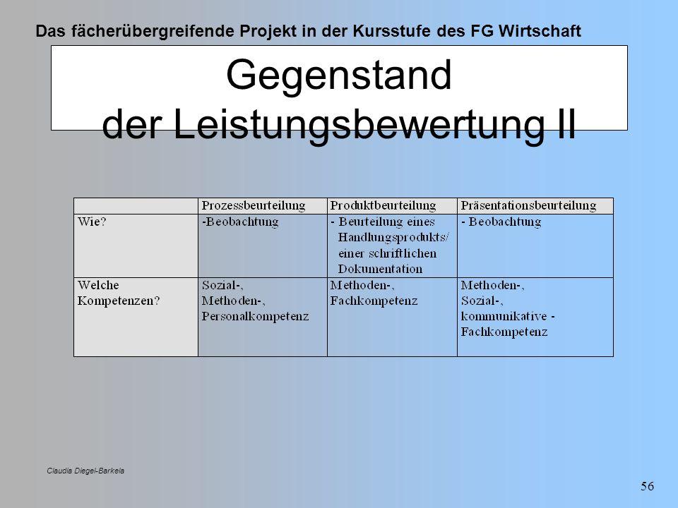 Das fächerübergreifende Projekt in der Kursstufe des FG Wirtschaft Claudia Diegel-Barkela 56 Gegenstand der Leistungsbewertung II
