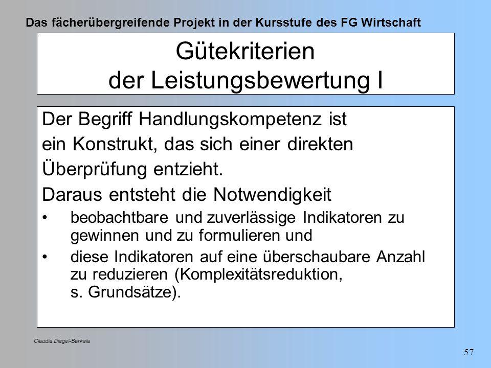 Das fächerübergreifende Projekt in der Kursstufe des FG Wirtschaft Claudia Diegel-Barkela 57 Gütekriterien der Leistungsbewertung I Der Begriff Handlu