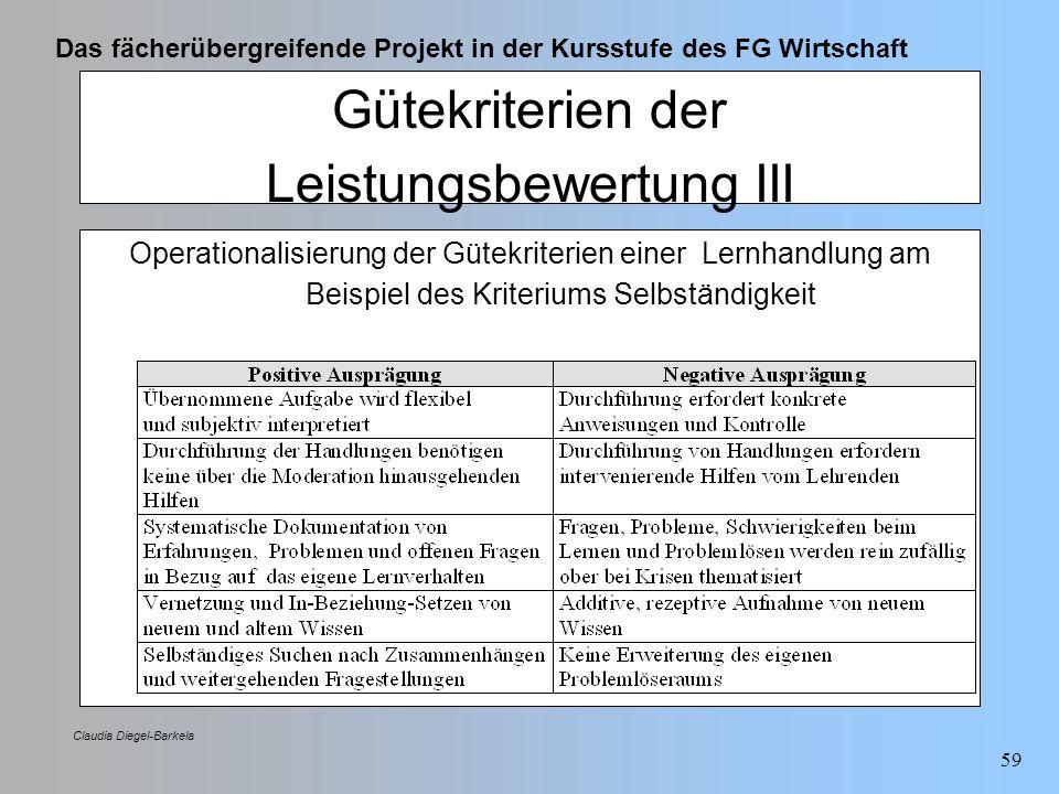 Das fächerübergreifende Projekt in der Kursstufe des FG Wirtschaft Claudia Diegel-Barkela 59 Gütekriterien der Leistungsbewertung III Operationalisier