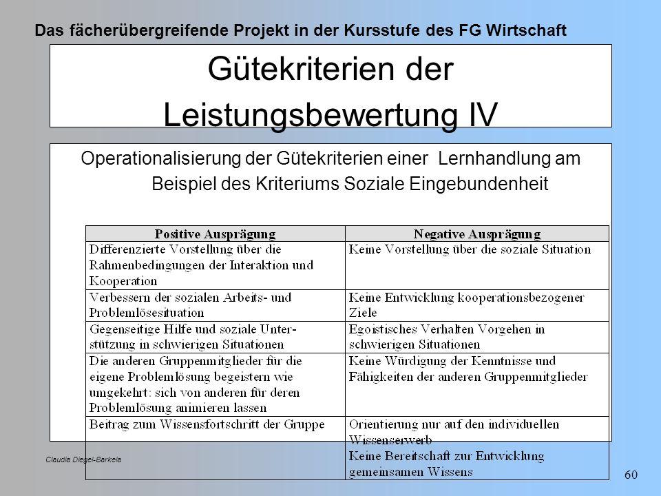 Das fächerübergreifende Projekt in der Kursstufe des FG Wirtschaft Claudia Diegel-Barkela 60 Gütekriterien der Leistungsbewertung IV Operationalisieru