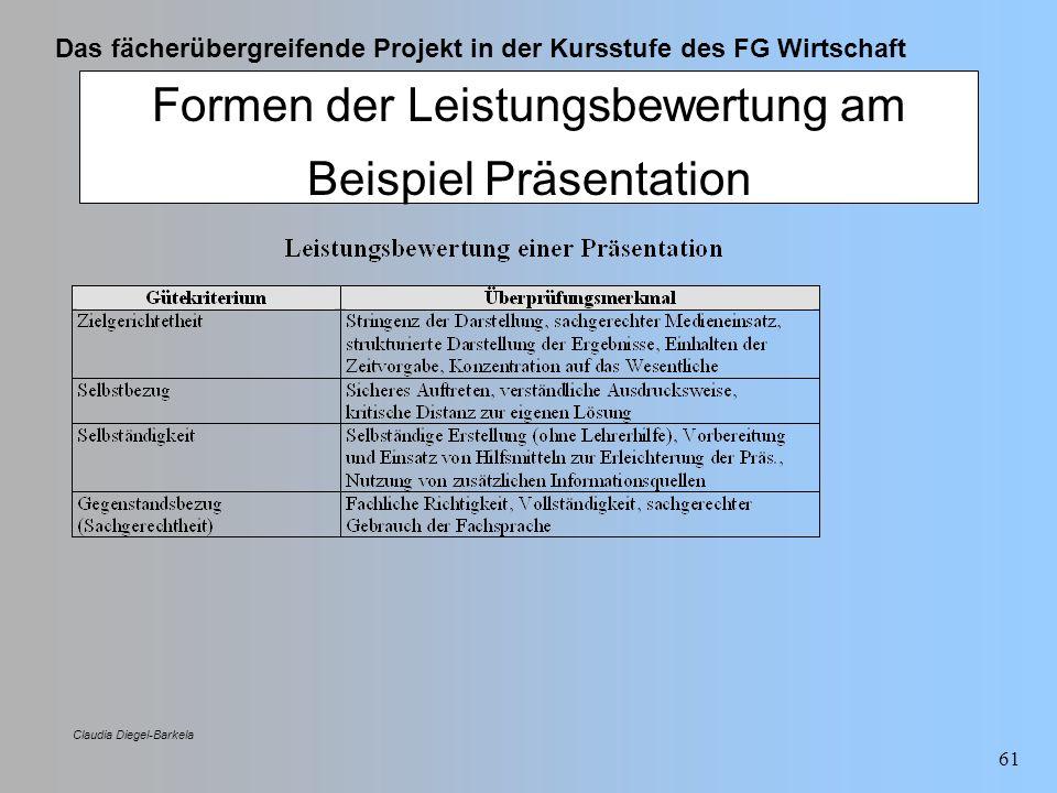 Das fächerübergreifende Projekt in der Kursstufe des FG Wirtschaft Claudia Diegel-Barkela 61 Formen der Leistungsbewertung am Beispiel Präsentation