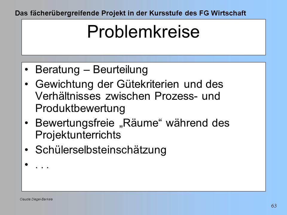 Das fächerübergreifende Projekt in der Kursstufe des FG Wirtschaft Claudia Diegel-Barkela 63 Problemkreise Beratung – Beurteilung Gewichtung der Gütek