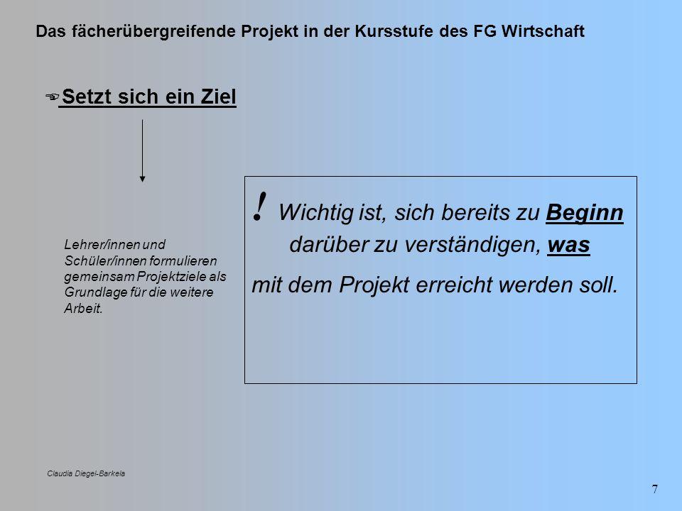 Das fächerübergreifende Projekt in der Kursstufe des FG Wirtschaft Claudia Diegel-Barkela 8 Verständigt sich über Subthemen und Aufgaben Eine genaue Festlegung von Aufgabenbereichen und Verbindlichkeiten ist anzustreben.