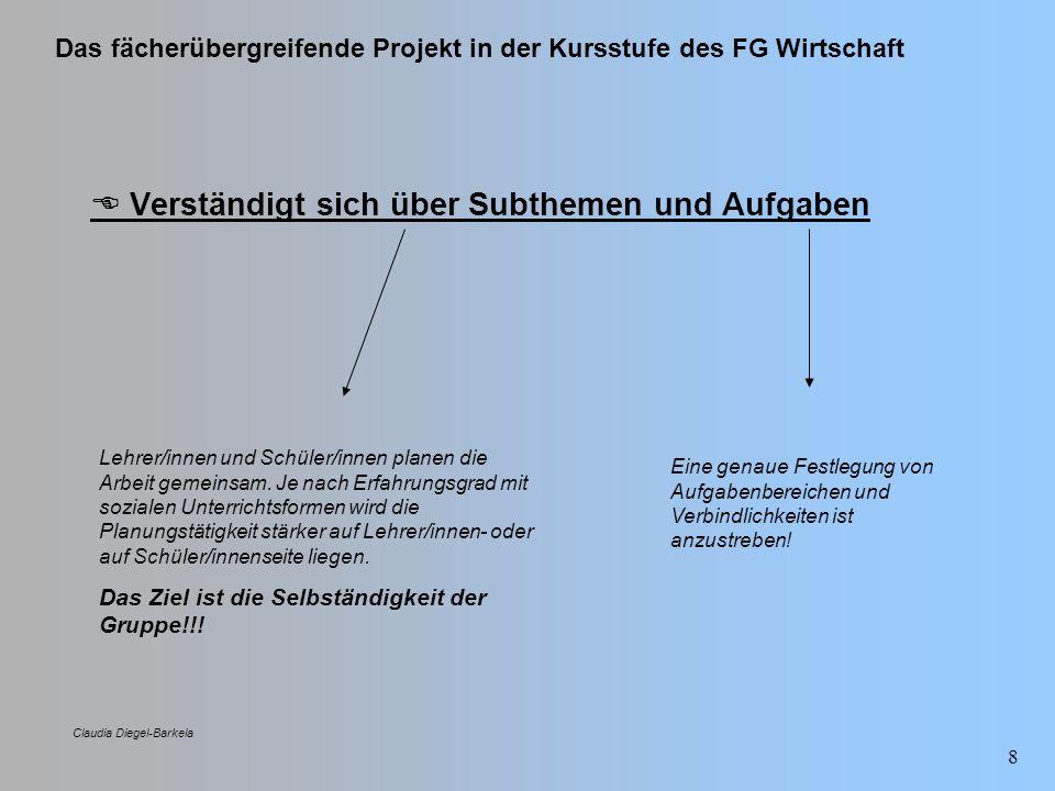 Das fächerübergreifende Projekt in der Kursstufe des FG Wirtschaft Claudia Diegel-Barkela 39 Projektstrukturplan Arbeitsschritte zur Erstellung des Projektstrukturplans (Zielreview): Arbeitsschritt Nutzen 3) Anforderungen an DritteKlärung welche Anforderungen das Projekt an welche Inputgeber hat bzgl.