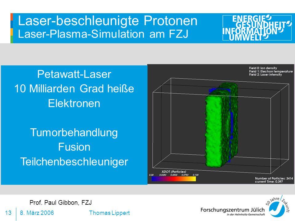 8. März 200613 Thomas Lippert Laser-beschleunigte Protonen Laser-Plasma-Simulation am FZJ Prof. Paul Gibbon, FZJ Petawatt-Laser 10 Milliarden Grad hei